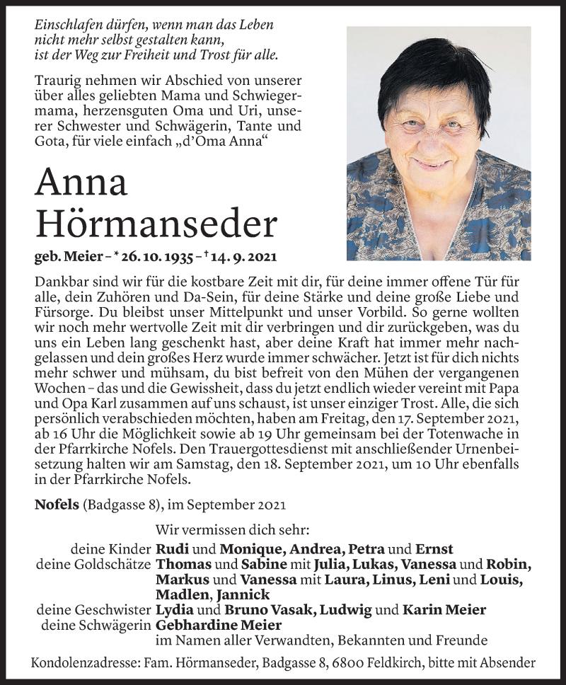 Todesanzeige für Anna Hörmanseder vom 15.09.2021 aus Vorarlberger Nachrichten