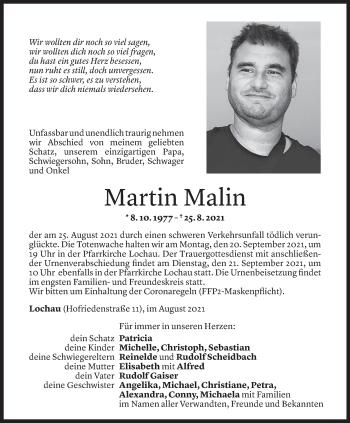 Todesanzeige von Martin Malin von Vorarlberger Nachrichten