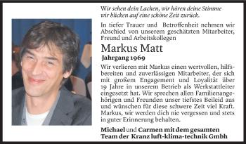 Todesanzeige von Markus Matt von Vorarlberger Nachrichten