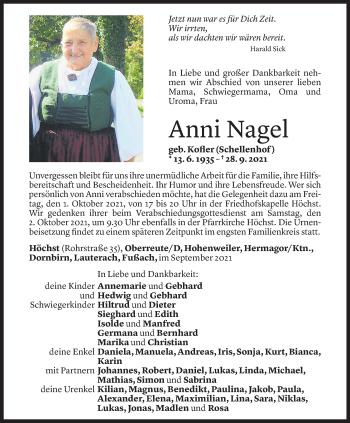 Todesanzeige von Anni Nagel von Vorarlberger Nachrichten