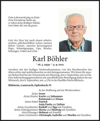 Todesanzeige von Karl Böhler von Vorarlberger Nachrichten
