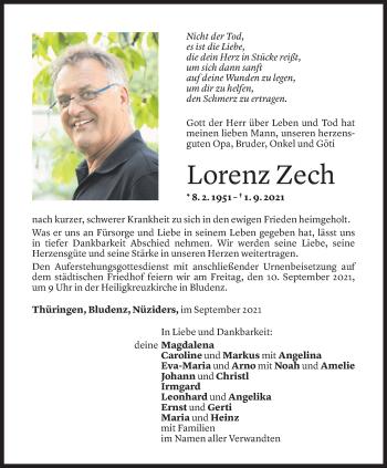 Todesanzeige von Lorenz Zech von Vorarlberger Nachrichten