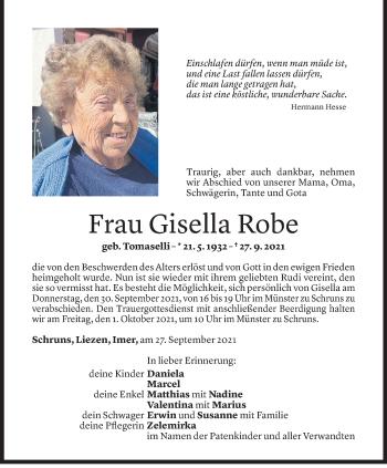 Todesanzeige von Gisella Robe von Vorarlberger Nachrichten