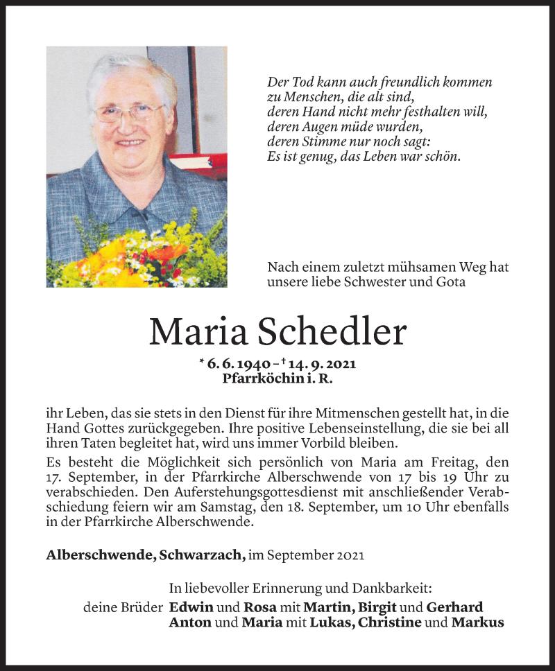 Todesanzeige für Maria Schedler vom 15.09.2021 aus Vorarlberger Nachrichten