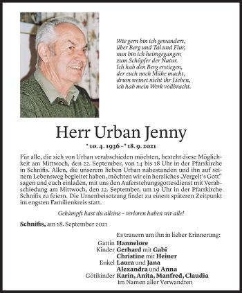 Todesanzeige von Urban Jenny von Vorarlberger Nachrichten