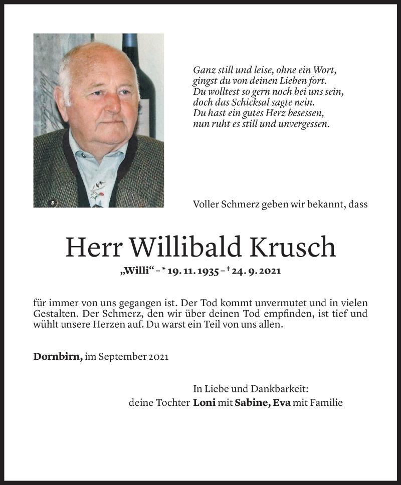 Todesanzeige für Willi Krusch vom 28.09.2021 aus Vorarlberger Nachrichten