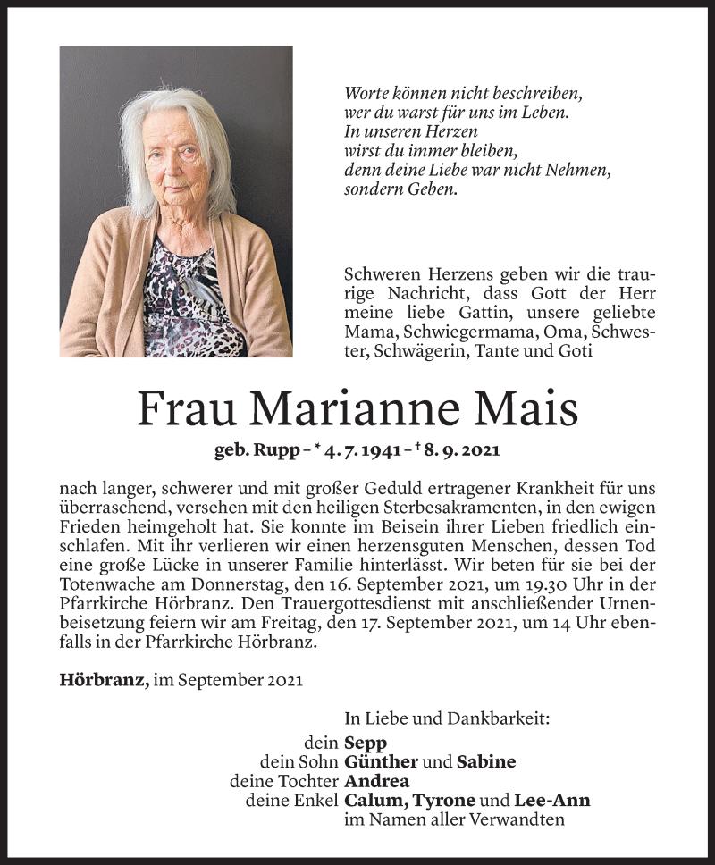 Todesanzeige für Marianne Mais vom 14.09.2021 aus Vorarlberger Nachrichten
