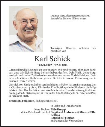 Todesanzeige von Karl Schick von Vorarlberger Nachrichten