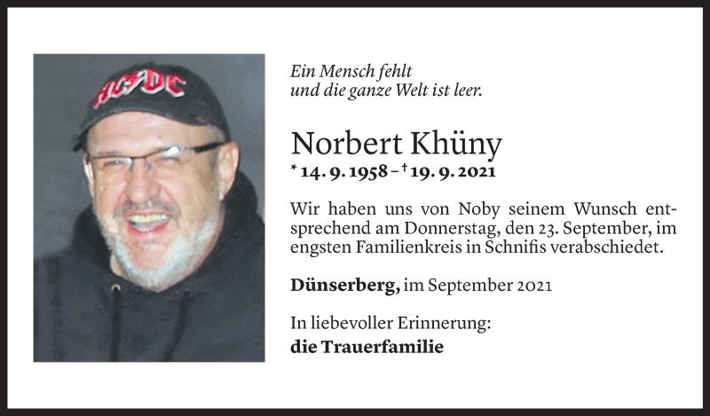 Todesanzeige für Norbert Khüny vom 24.09.2021 aus Vorarlberger Nachrichten