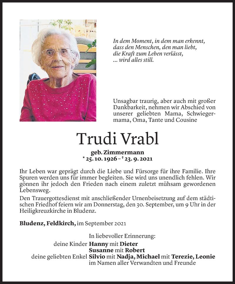 Todesanzeige für Trudi Vrabl vom 27.09.2021 aus Vorarlberger Nachrichten