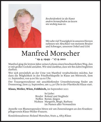 Todesanzeige von Manfred Morscher von Vorarlberger Nachrichten