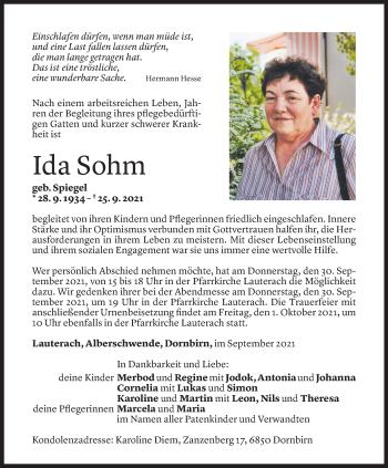 Todesanzeige von Ida Sohm von Vorarlberger Nachrichten