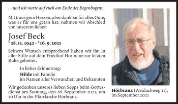 Todesanzeige von Josef Beck von Vorarlberger Nachrichten