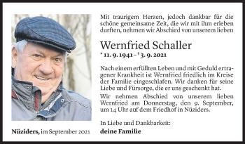 Todesanzeige von Wernfried Schaller von Vorarlberger Nachrichten
