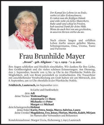 Todesanzeige von Brunhilde Mayer von Vorarlberger Nachrichten