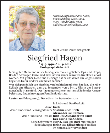Todesanzeige von Siegfried Hagen von Vorarlberger Nachrichten