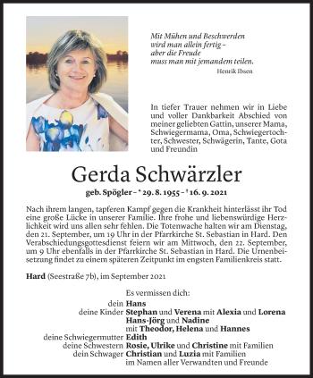 Todesanzeige von Gerda Schwärzler von Vorarlberger Nachrichten