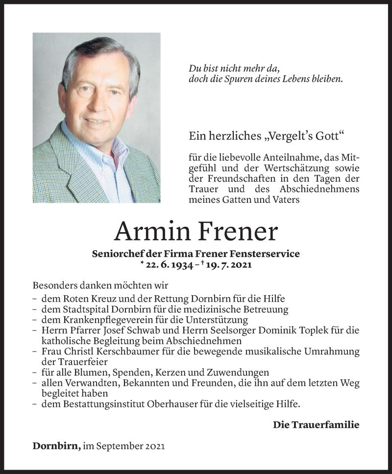 Todesanzeige für Armin Frener vom 03.09.2021 aus Vorarlberger Nachrichten
