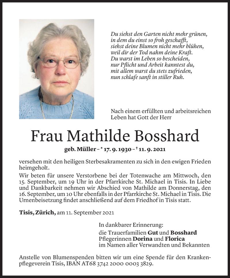 Todesanzeige für Mathilde Bosshard vom 13.09.2021 aus Vorarlberger Nachrichten