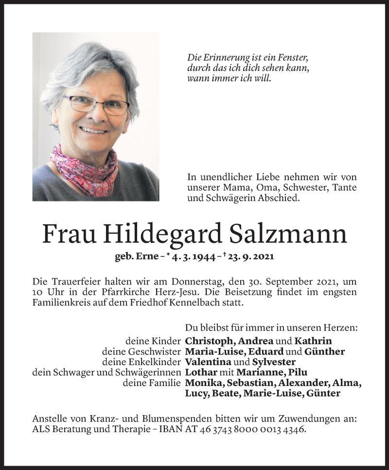 Todesanzeige für Hildegard Salzmann vom 27.09.2021 aus Vorarlberger Nachrichten