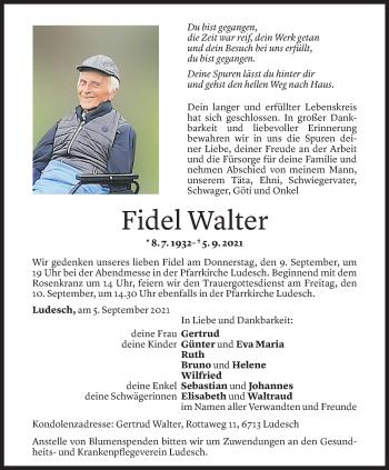 Todesanzeige von Fidel Walter von Vorarlberger Nachrichten