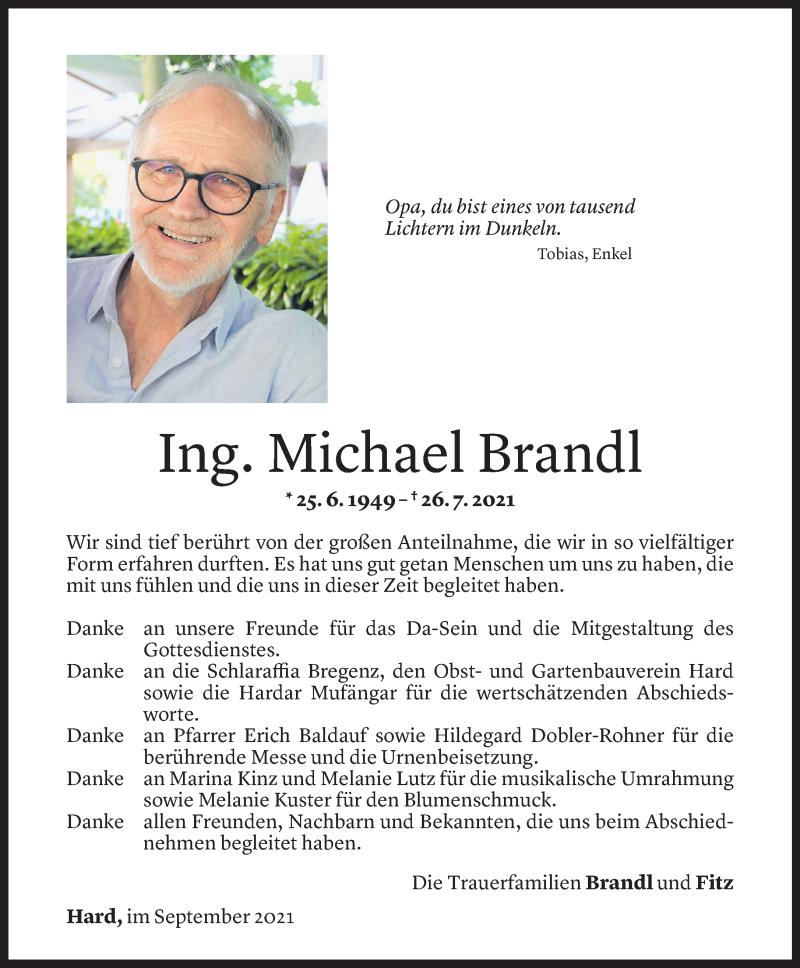 Todesanzeige für Michael Brandl vom 17.09.2021 aus Vorarlberger Nachrichten
