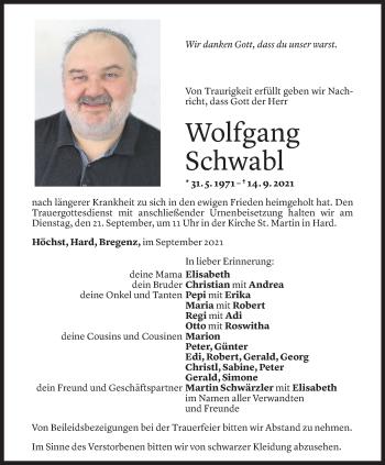 Todesanzeige von Wolfgang Schwabl von Vorarlberger Nachrichten