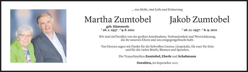 Todesanzeige für Jakob Zumtobel vom 17.09.2021 aus Vorarlberger Nachrichten