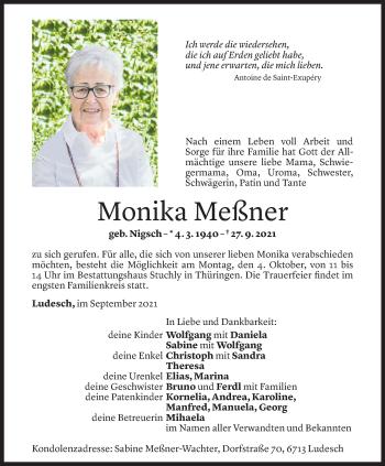 Todesanzeige von Monika Meßner von Vorarlberger Nachrichten