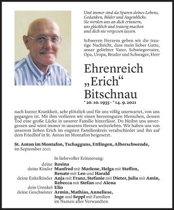 Todesanzeige von Ehrenreich Bitschnau von Vorarlberger Nachrichten