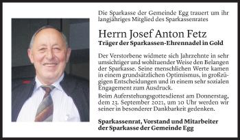 Todesanzeige von Josef Anton Fetz von Vorarlberger Nachrichten