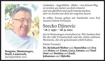 Todesanzeige von Srecko Djinovic von Vorarlberger Nachrichten