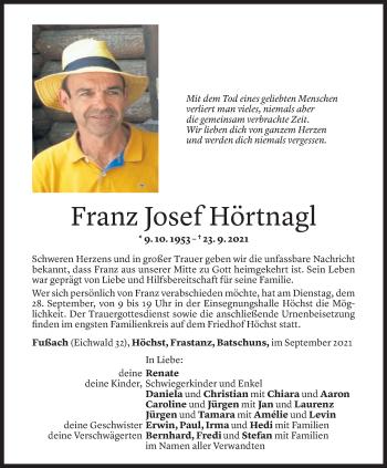 Todesanzeige von Franz Josef Hörtnagl von Vorarlberger Nachrichten