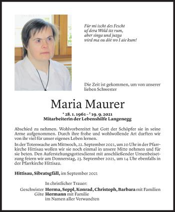 Todesanzeige von Maria Maurer von Vorarlberger Nachrichten