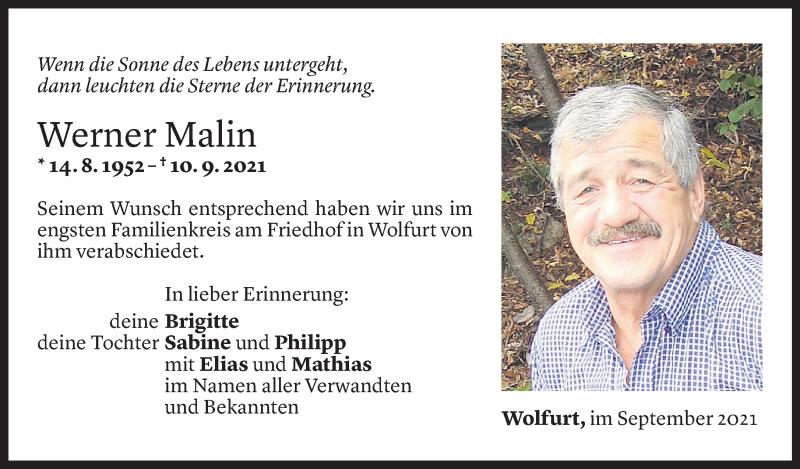 Todesanzeige für Werner Malin vom 17.09.2021 aus Vorarlberger Nachrichten