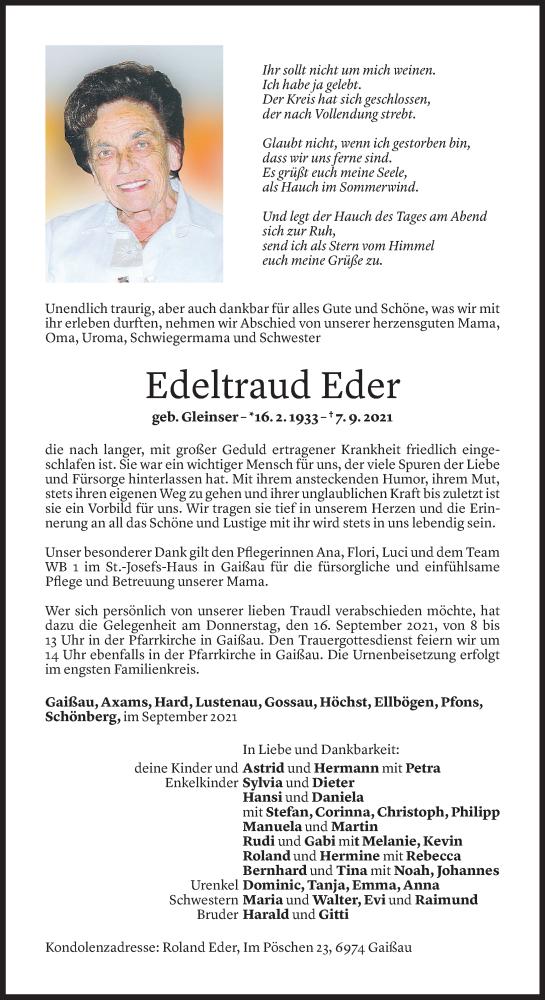 Todesanzeige für Edeltraud Eder vom 10.09.2021 aus Vorarlberger Nachrichten