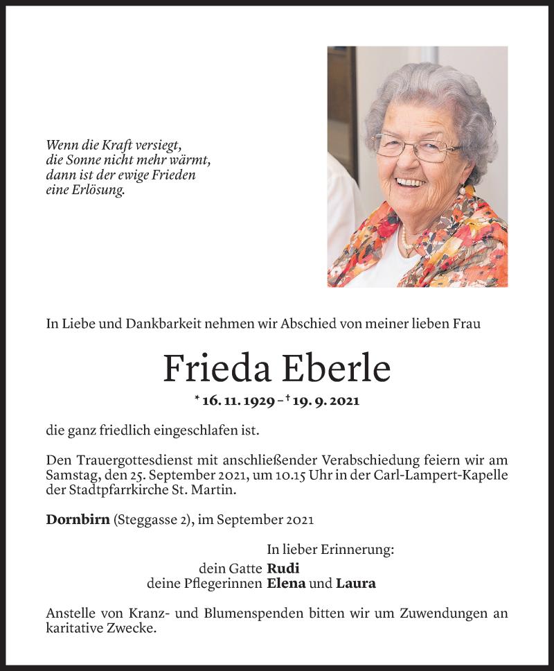Todesanzeige für Frieda Eberle vom 22.09.2021 aus Vorarlberger Nachrichten