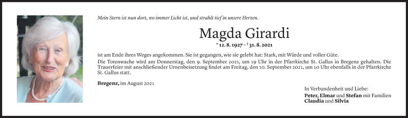Todesanzeige für Magda Girardi vom 05.09.2021 aus Vorarlberger Nachrichten