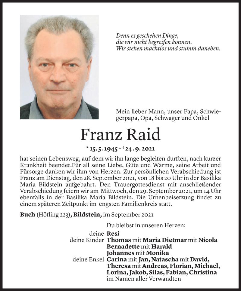 Todesanzeige für Franz Raid vom 26.09.2021 aus Vorarlberger Nachrichten