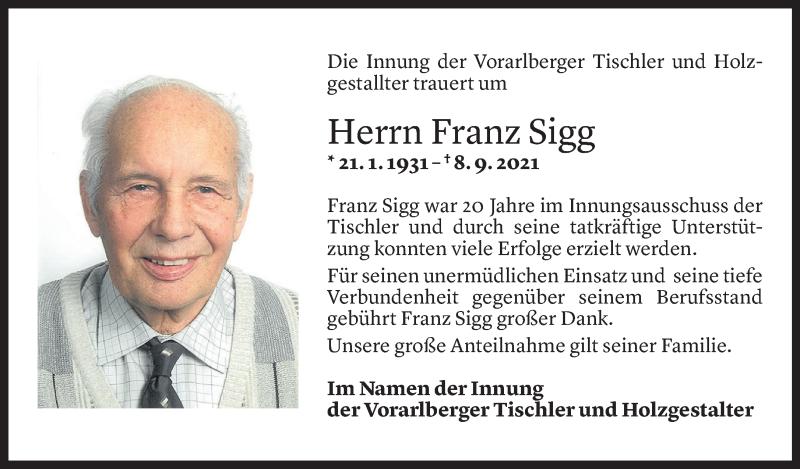 Todesanzeige für Franz Sigg vom 13.09.2021 aus Vorarlberger Nachrichten