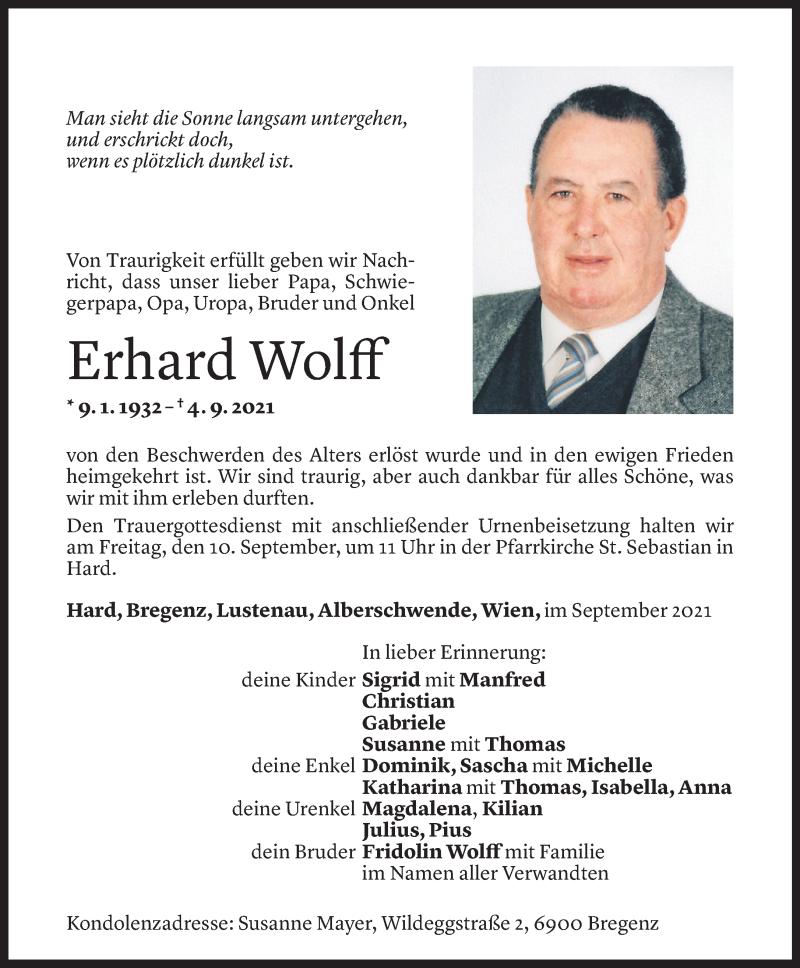 Todesanzeige für Erhard Wolff vom 07.09.2021 aus Vorarlberger Nachrichten