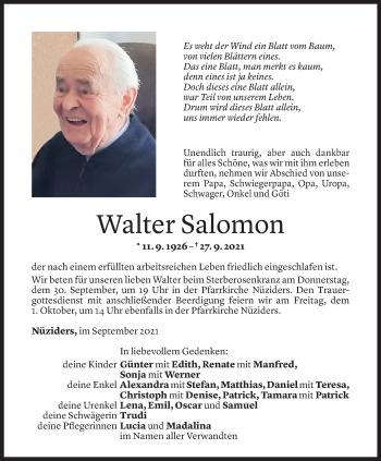 Todesanzeige von Walter Salomon von Vorarlberger Nachrichten