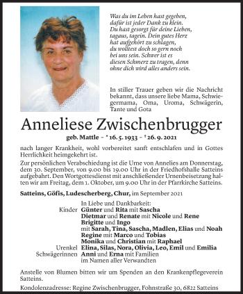 Todesanzeige von Anneliese Zwischenbrugger von Vorarlberger Nachrichten