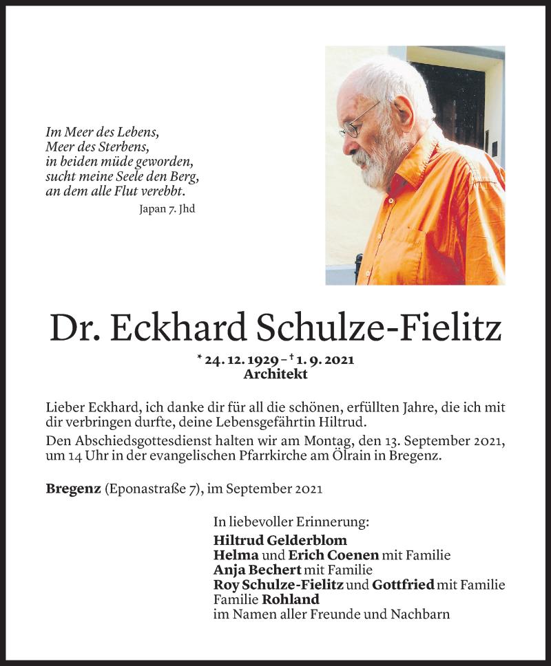 Todesanzeige für Eckhard Schulze-Fielitz vom 03.09.2021 aus Vorarlberger Nachrichten