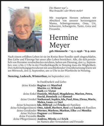 Todesanzeige von Hermine Meyer von Vorarlberger Nachrichten