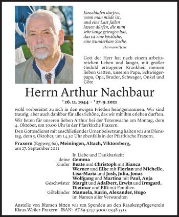 Todesanzeige von Arthur Nachbaur von Vorarlberger Nachrichten