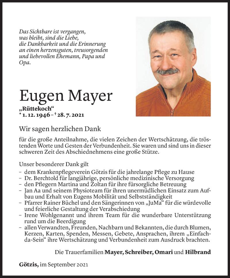 Todesanzeige für Eugen Mayer vom 03.09.2021 aus Vorarlberger Nachrichten