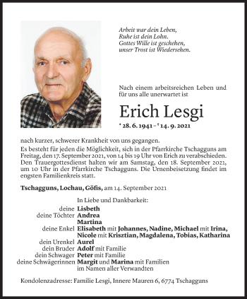 Todesanzeige von Erich Lesgi von Vorarlberger Nachrichten