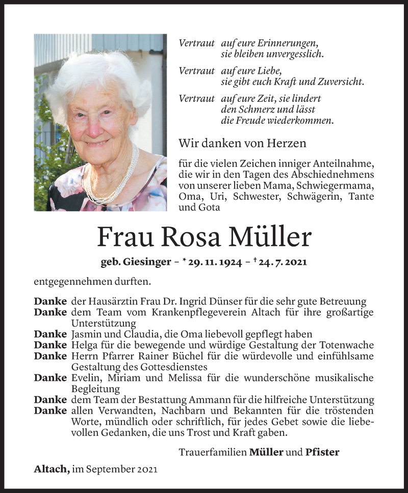 Todesanzeige für Rosa Müller vom 04.09.2021 aus Vorarlberger Nachrichten