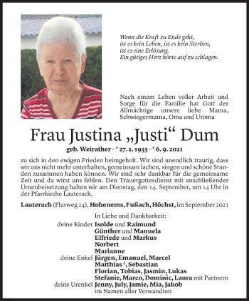 Todesanzeige von Justina Dum von Vorarlberger Nachrichten